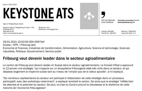 keystone ats : Fribourg veut devenir leader dans le secteur agroalimentaire